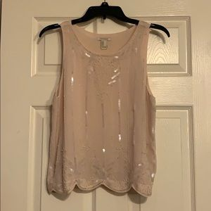 Light pink beaded tank